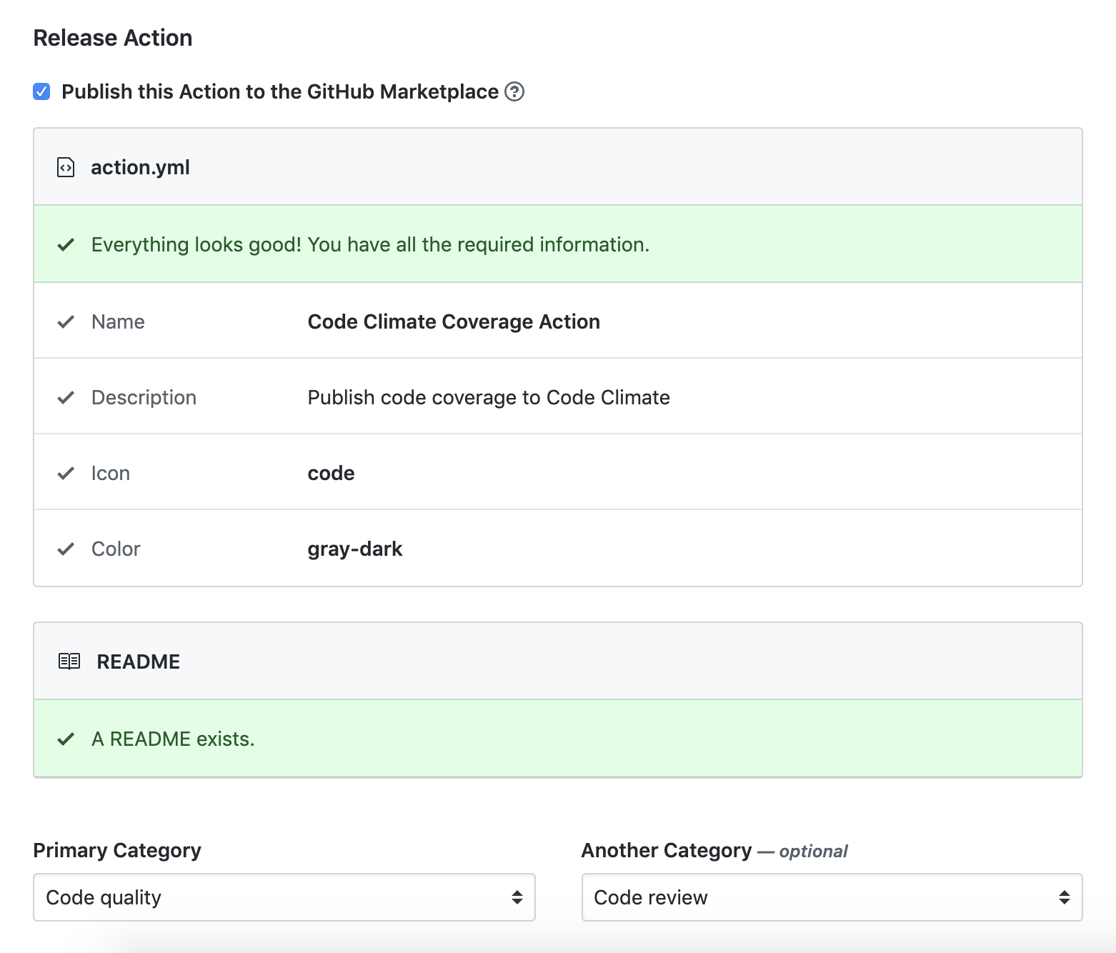 Publish release to GitHub Actions Marketplace